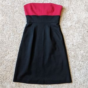 Theory Strapless Dress Colorblock Black Red